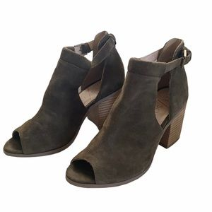 Sole Society Ferris Green Suede Peep Toe Shoes